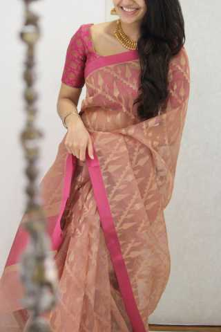 Stylish Pink Shaded Soft Silk Party Wear Saree