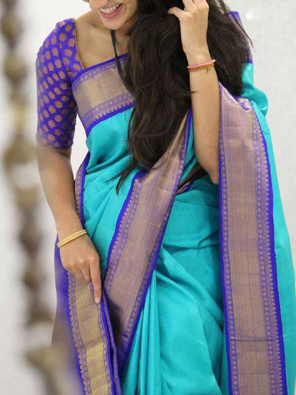 Silk Saree With Blouse Blue Colored For Women - CND1839