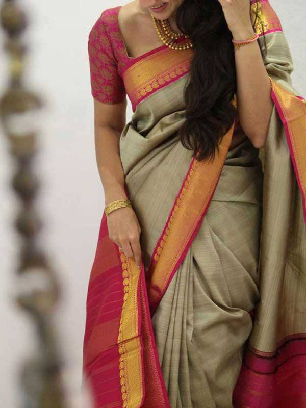Silk Saree With Blouse Beige-Red Colored For Women - CND1840