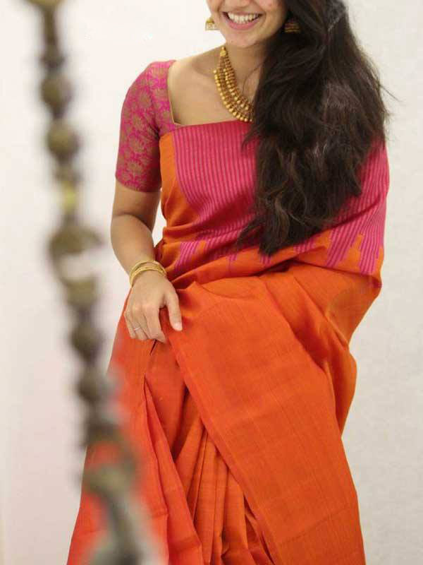 Silk Saree With Blouse Orange Colored For Women - CND1843