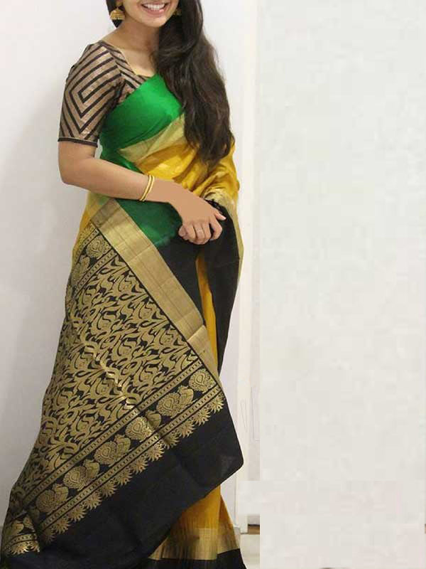 Silk Saree With Blouse Yellow-Black Colored For Women - CND1844