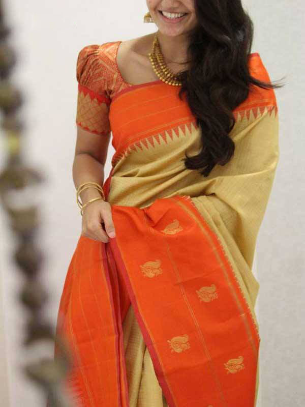 Silk Saree With Blouse Beige-Orange Colored For Women - CND1848