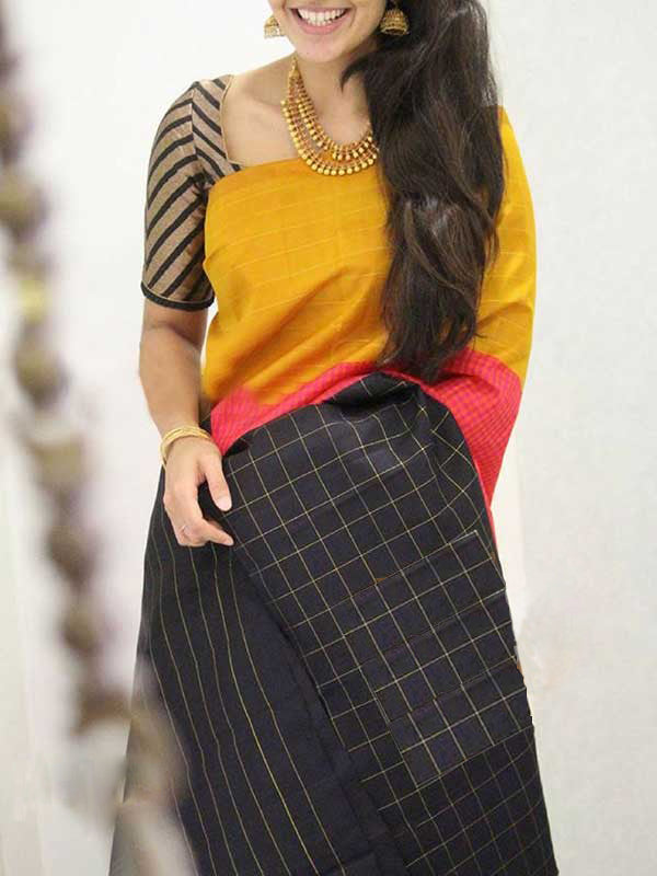 Silk Saree With Blouse Yellow Black Colored Checked Pallu For Women - CND1850
