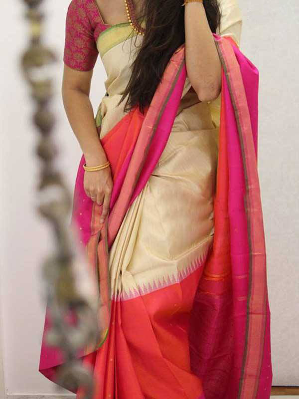 Silk Saree With Blouse Cream Colored Pink Blouse For Women - CND1863