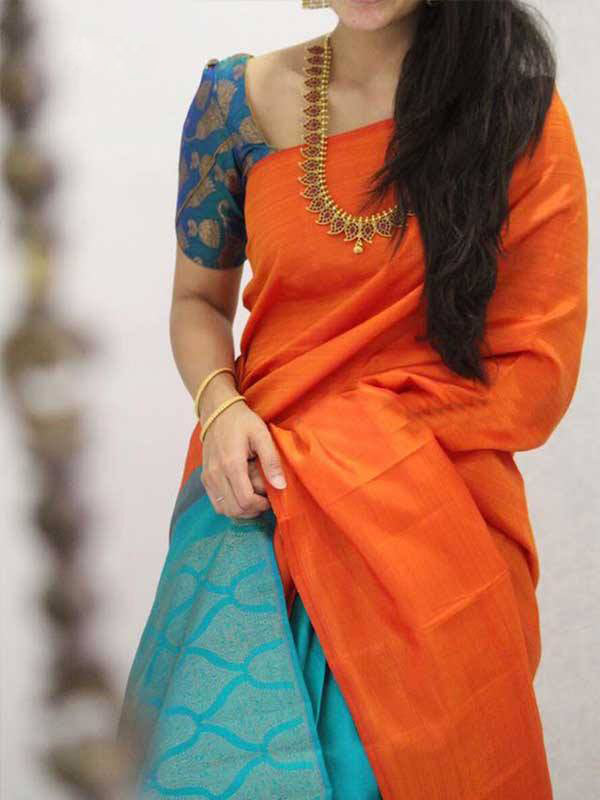 Silk Saree With Blouse Orange Colored For Women - CND1864
