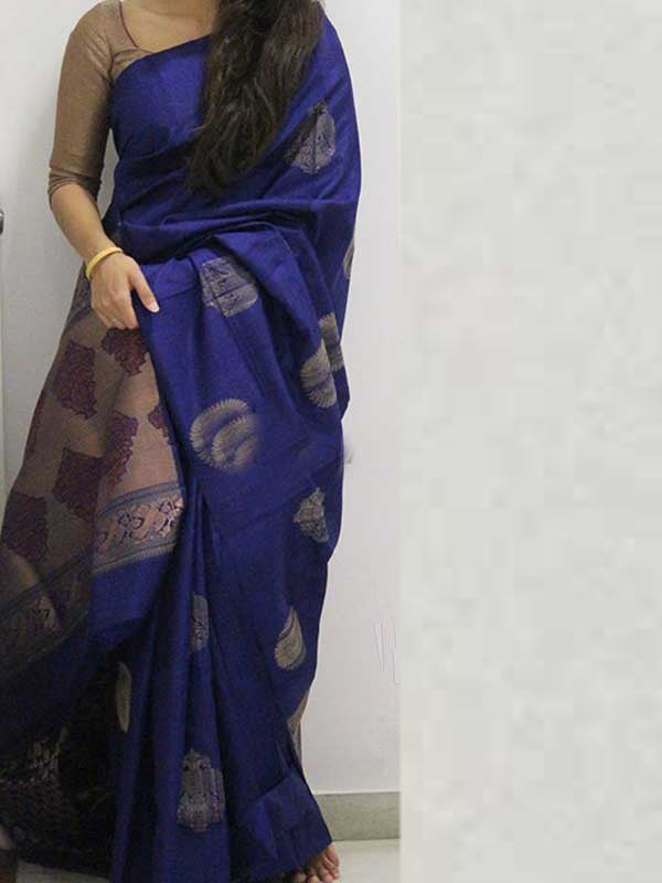 Silk Saree With Blouse Blue Colored For Women - CND1867