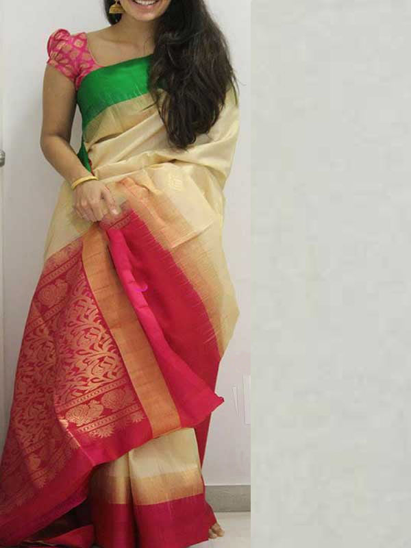Silk Saree With Blouse Cream Colored Pink Border For Women - CND1868