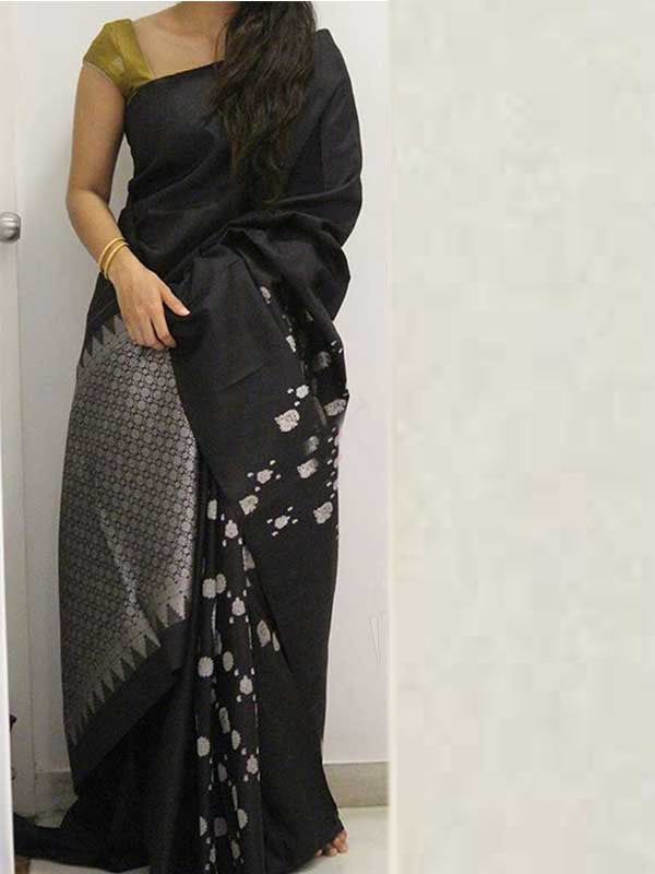 Silk Saree With Blouse Black Colored For Women - CND1890