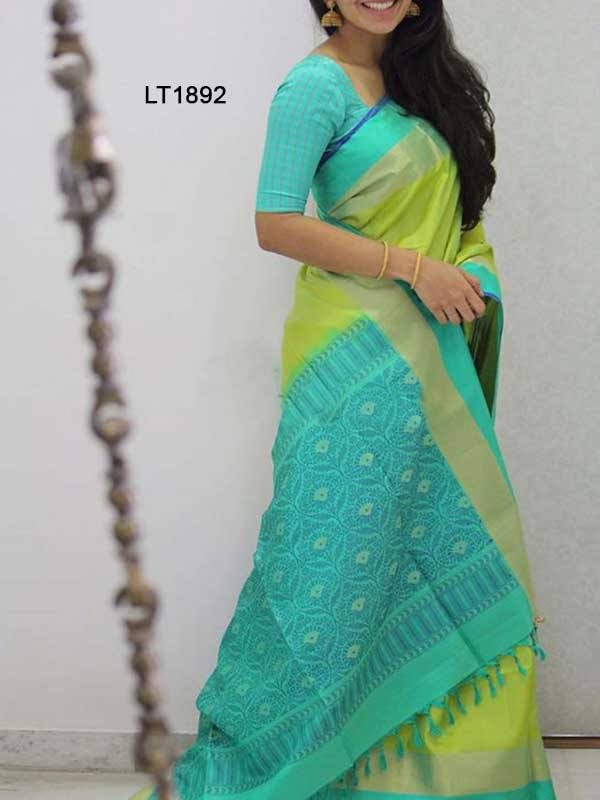 Silk Saree With Blouse Rama Green Colored For Women - CND1892