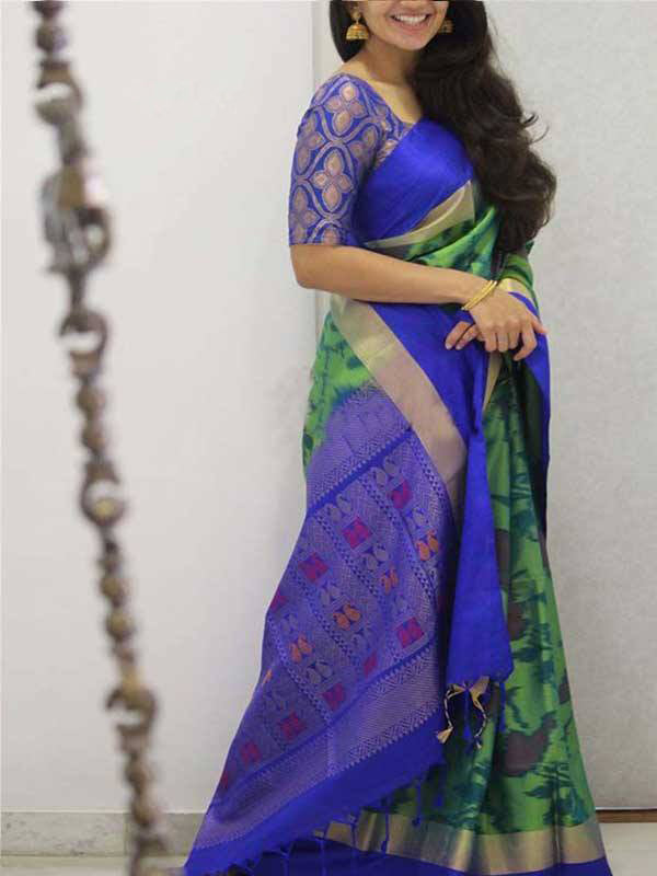 Silk Saree With Blouse Green-Blue Colored For Women - CND1893
