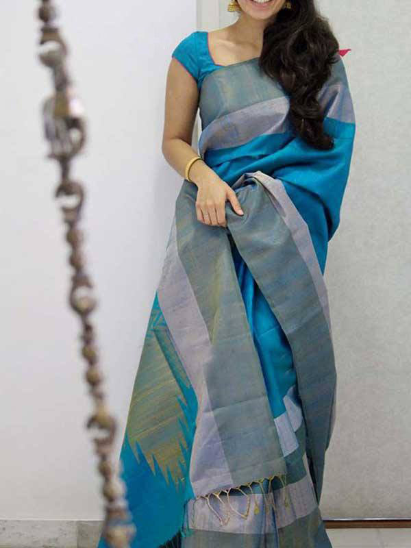 Silk Saree With Blouse Blue For Women - CND1895
