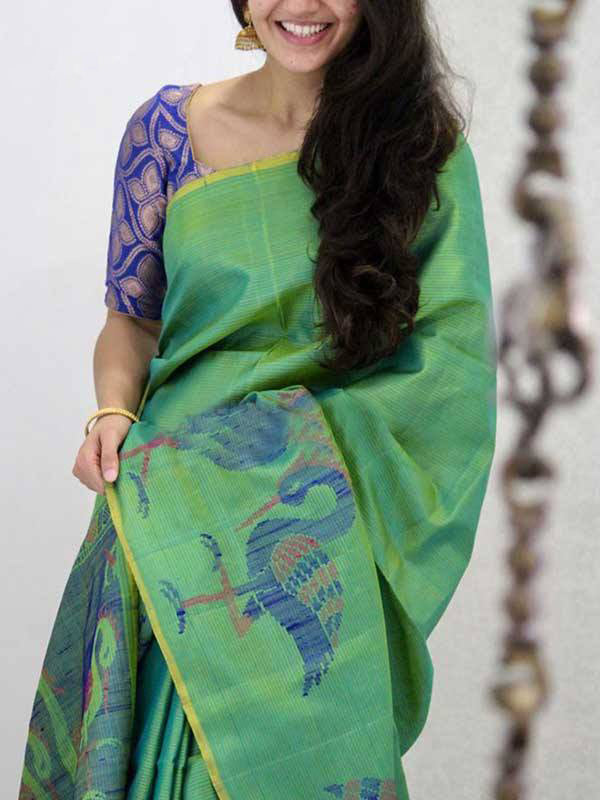 Silk Saree With Blouse Green Colored Peacock Pattern For Women - CND1897