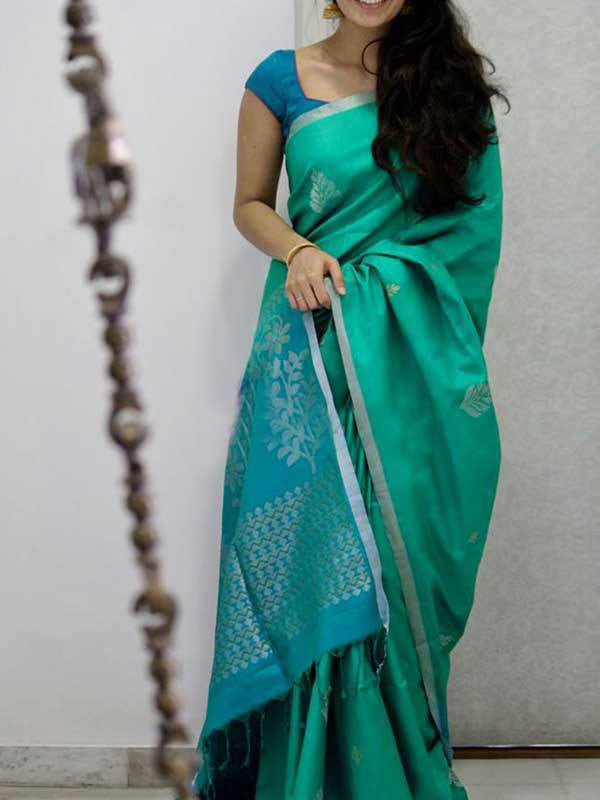 Silk Saree With Blouse Turquoise Green Colored For Women - CND1900