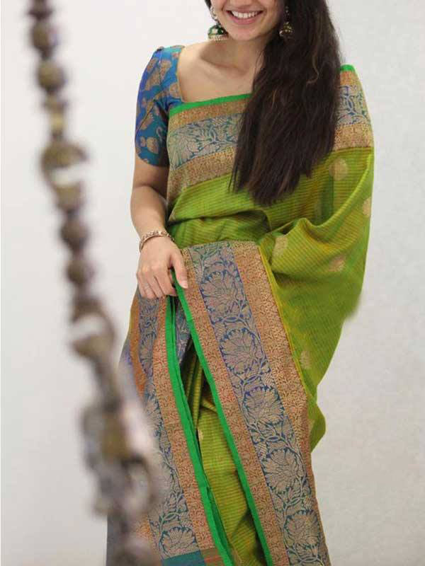 Silk Saree With Blouse Green Colored For Women - CND1912