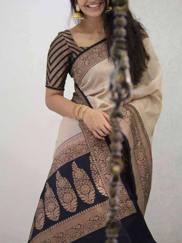 Silk Saree With Blouse Cream Colored Black Blouse For Women - CND1913