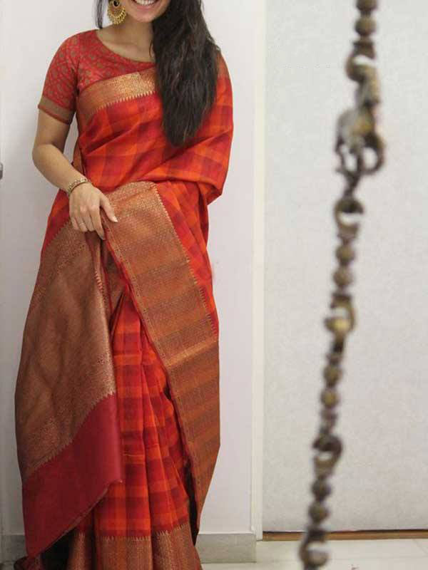 Silk Saree With Blouse Red Colored For Women - CND1914