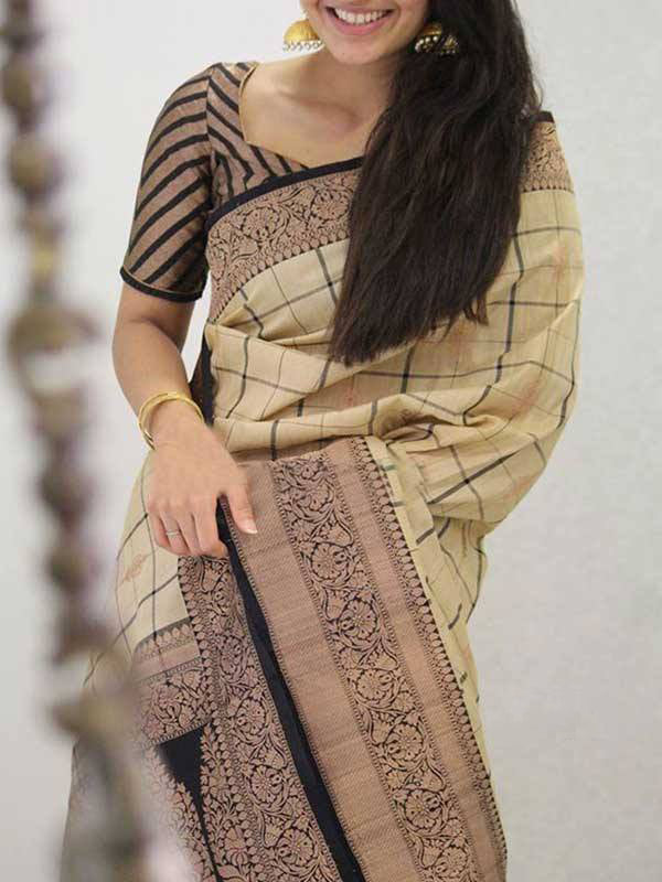 Silk Saree With Blouse Cream Black Colored For Women - CND1916