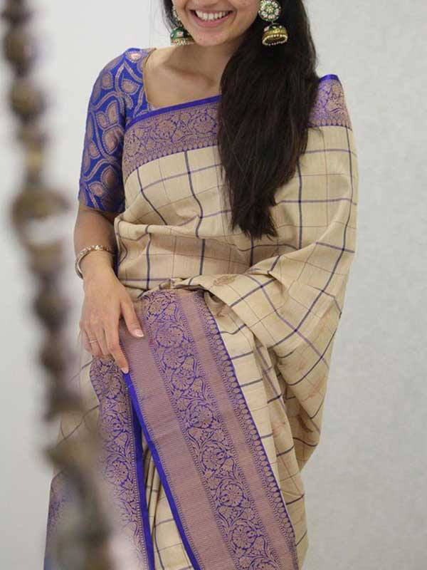 Silk Saree With Blouse White Blue Colored For Women - CND1917