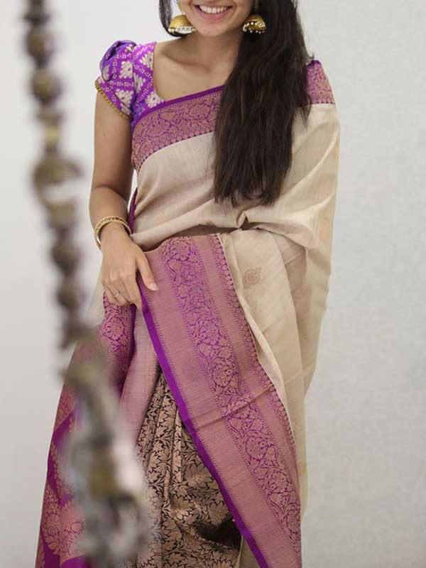 Silk Saree With Blouse  White Colored Magenta Border For Women - CND1923
