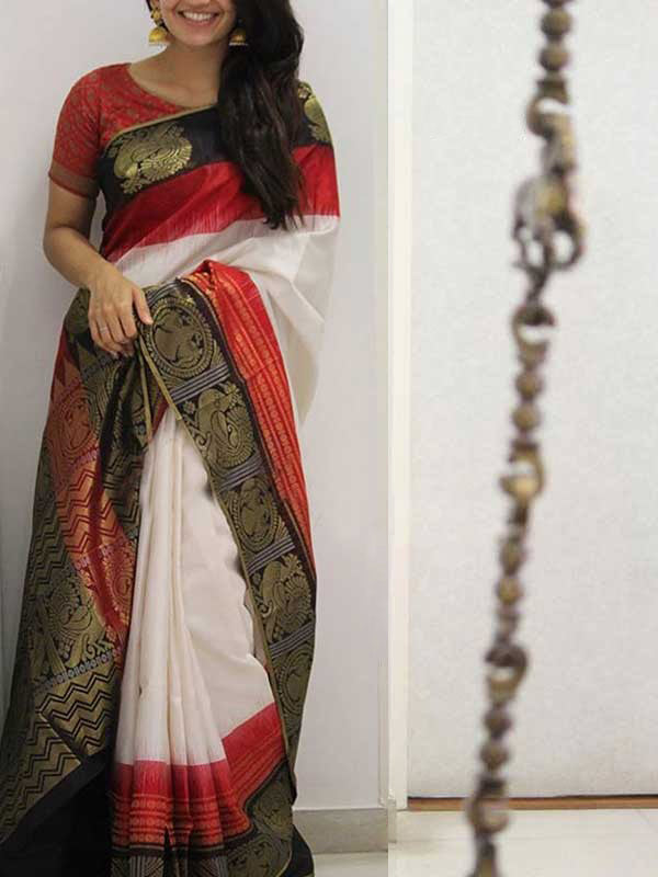 Silk Saree With Blouse White Colored Designer Black Border For Women - CND1925