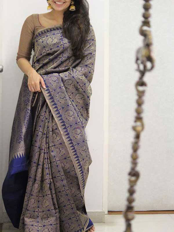 Silk Saree With Blouse Blue Colored For Women - CND1926