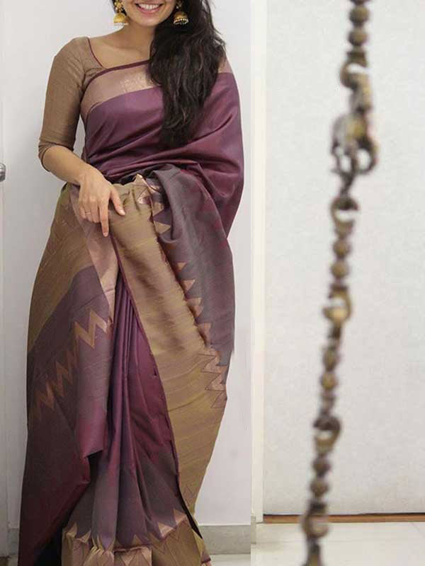 Silk Saree With Blouse Almond Pink Colored Beige Border For Women - CND1928