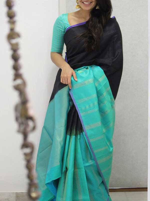 Silk Saree With Blouse Black Colored Turquoise Blue Border For Women - CND1929