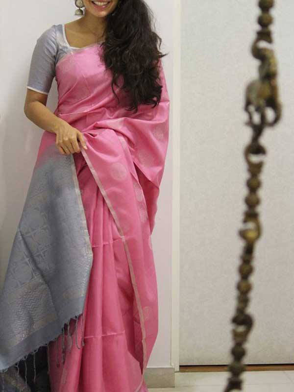 Silk Saree With Blouse Pink Colored Silver Border For Women - CND1933