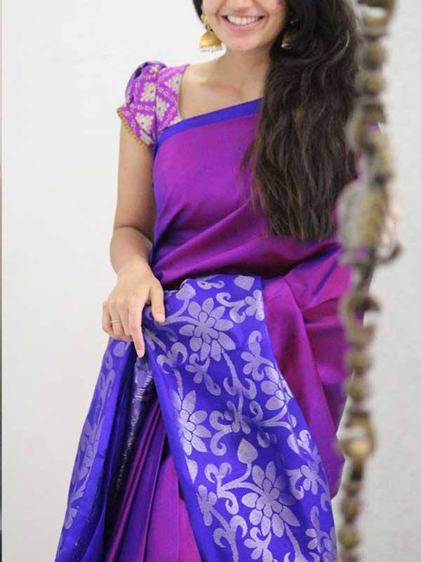 Silk Saree With Blouse Pink Colored Blue Border For Women - CND1934