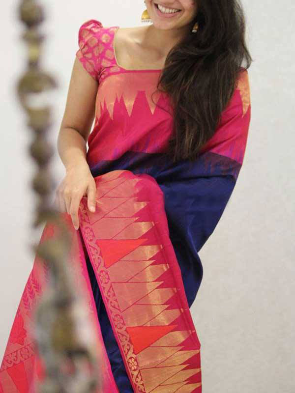 Silk Saree With Blouse Blue Pink Colored For Women - CND1938