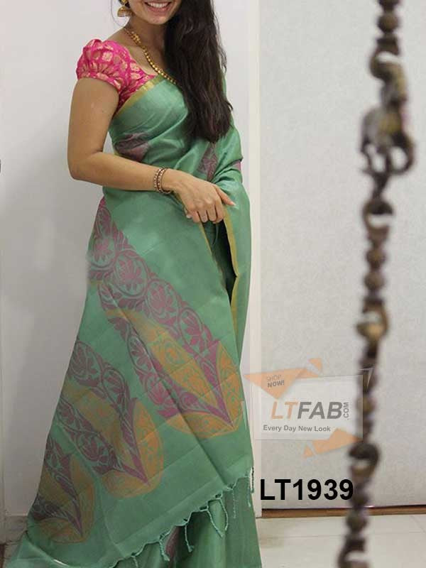 Silk Saree With Blouse With Blouse Rama Colored For Women - CND1939