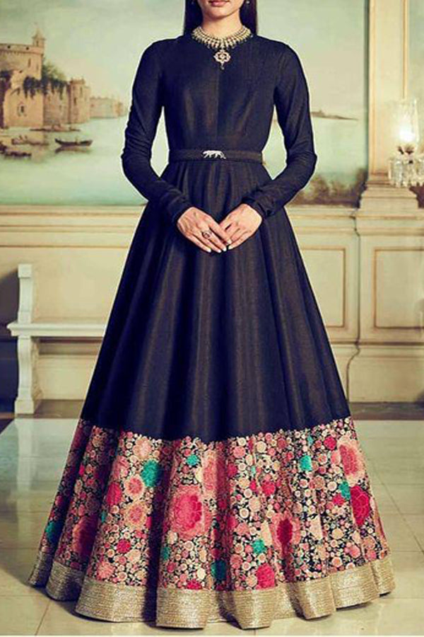Fantastic Black Colored Partywear Designer Cotton Long Kurti - CTK03