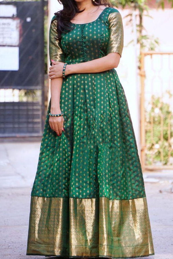 Trendy Green Colored Partywear Cotton long Kurti - CTK04