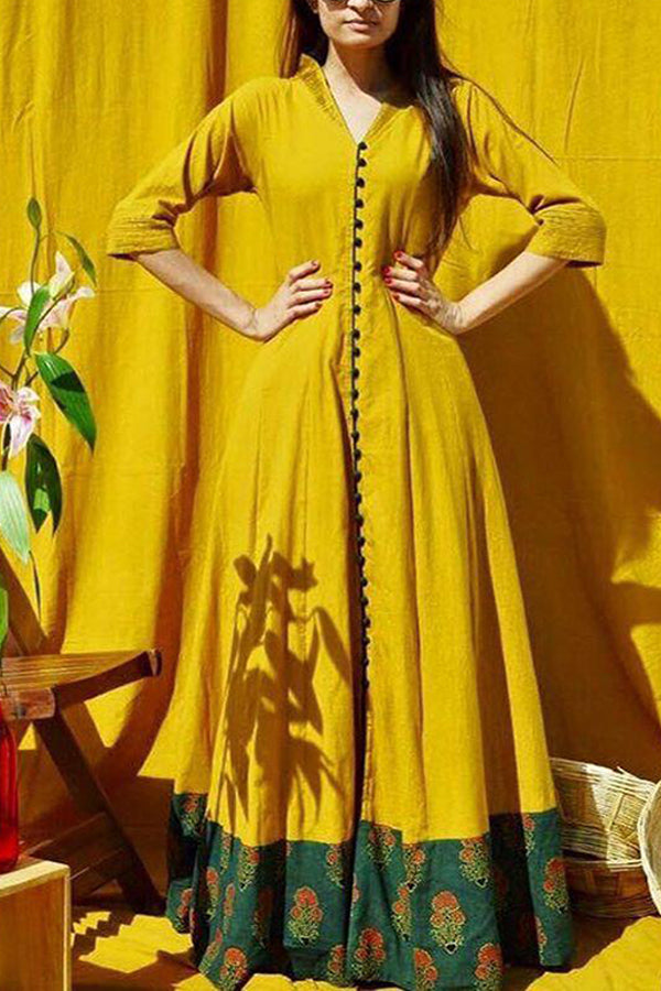 Glowing Yellow Colored Party Wear Designer Long Kurti - CTK05