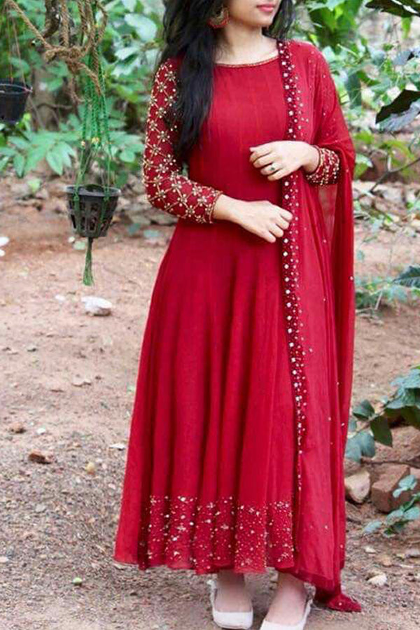 Opulent Red Colored Designer Partywear Heavy Cotton Long Kurti - CTK10