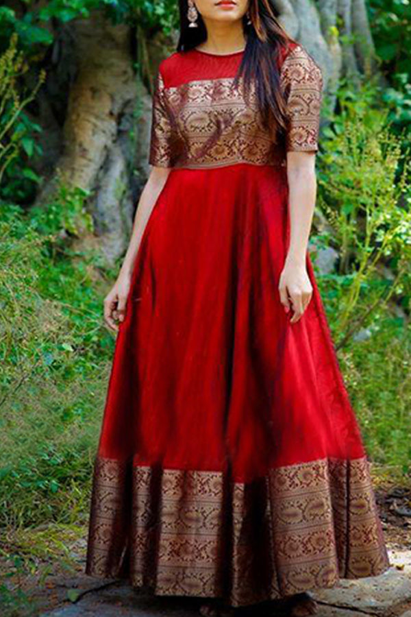 Pleasant Red Colored Party Wear Designer Heavy Cotton Long Kurti - CTK19