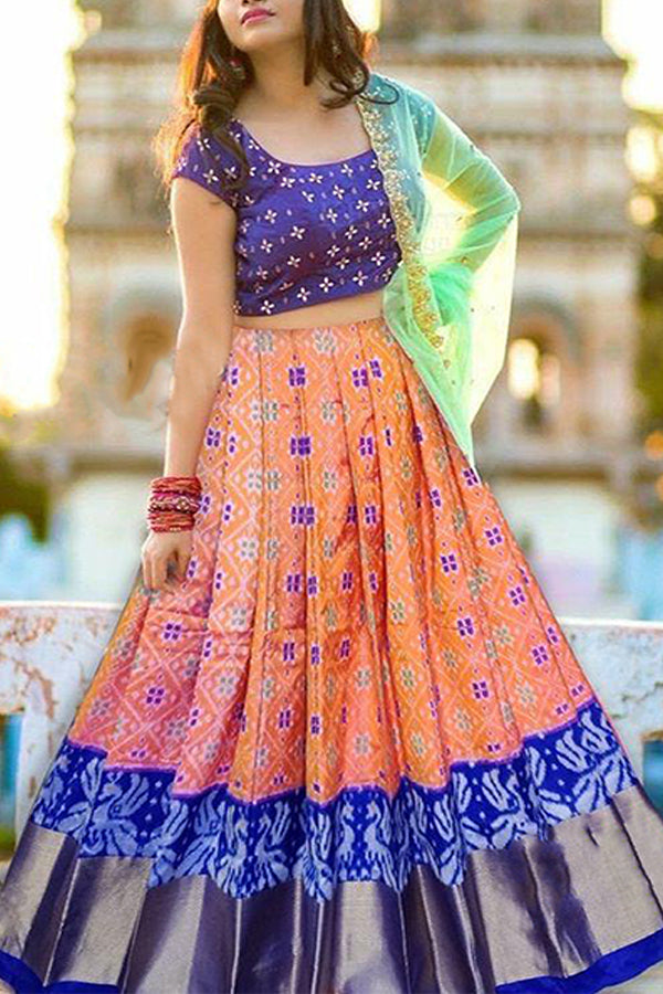 Precious Orange and Blue Color Taffeta Silk Lehenga Choli With Dupatta - CTK21