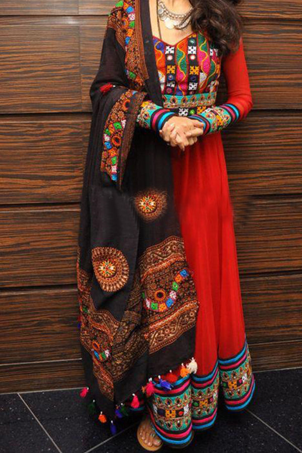 Hypnotic Red Colored Desi Work With Traditional Dupatta - CTK25