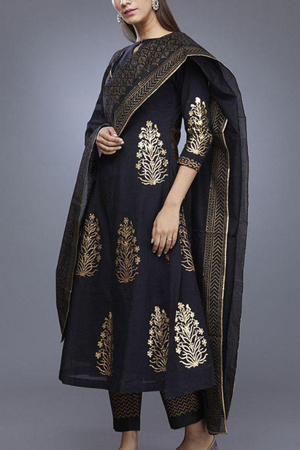 Black Chanderi Cotton Hand Block Salwar Suit With Dupatta - CTK31