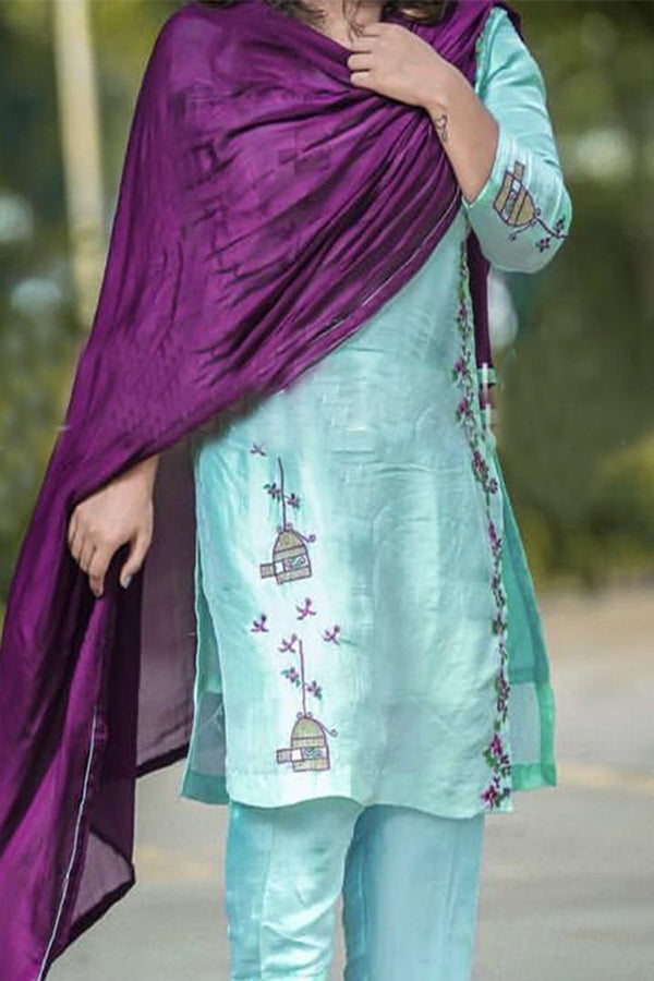 Light Blue Color Designer Plazzo Suit With Pink Dupatta - CTK34
