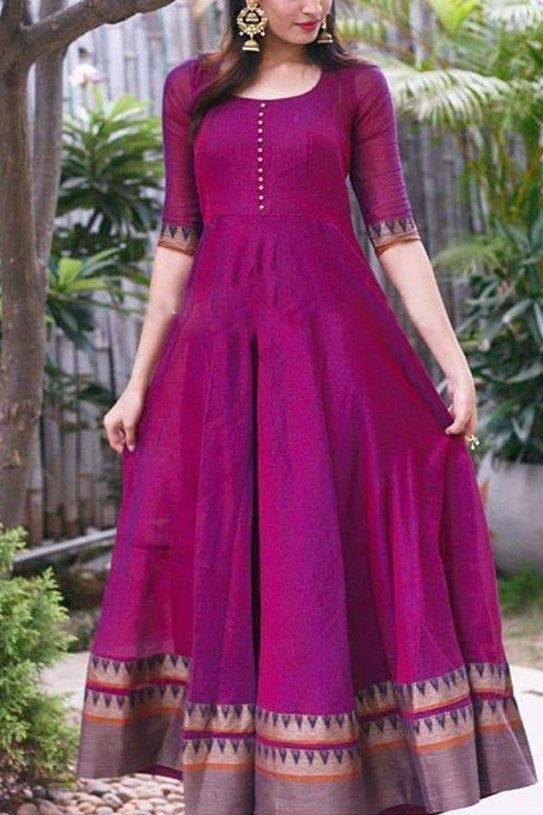 Eye-Catching Pink Colored Party Wear Long Cotton Kurti With Hem Work - CTK40