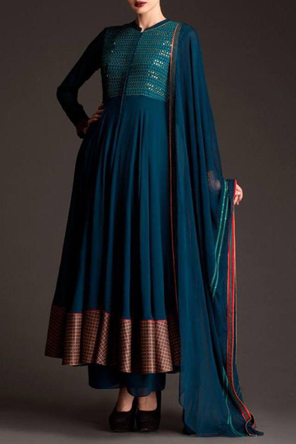 Exclusive Blue Colored Georgette Fabric Designer Suit - CTK42