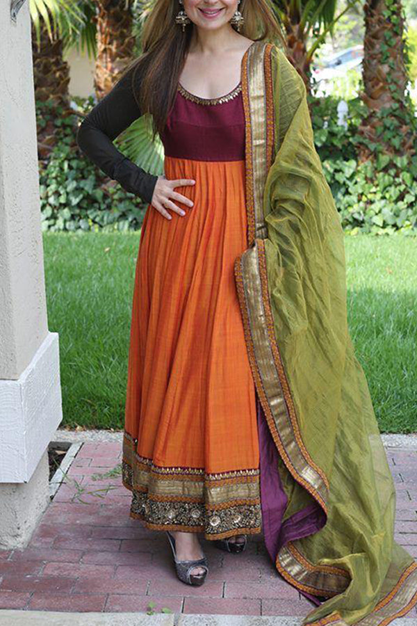 Orange Color Cotton Fabric Full Length Kurti With Green Dupatta - CTK43