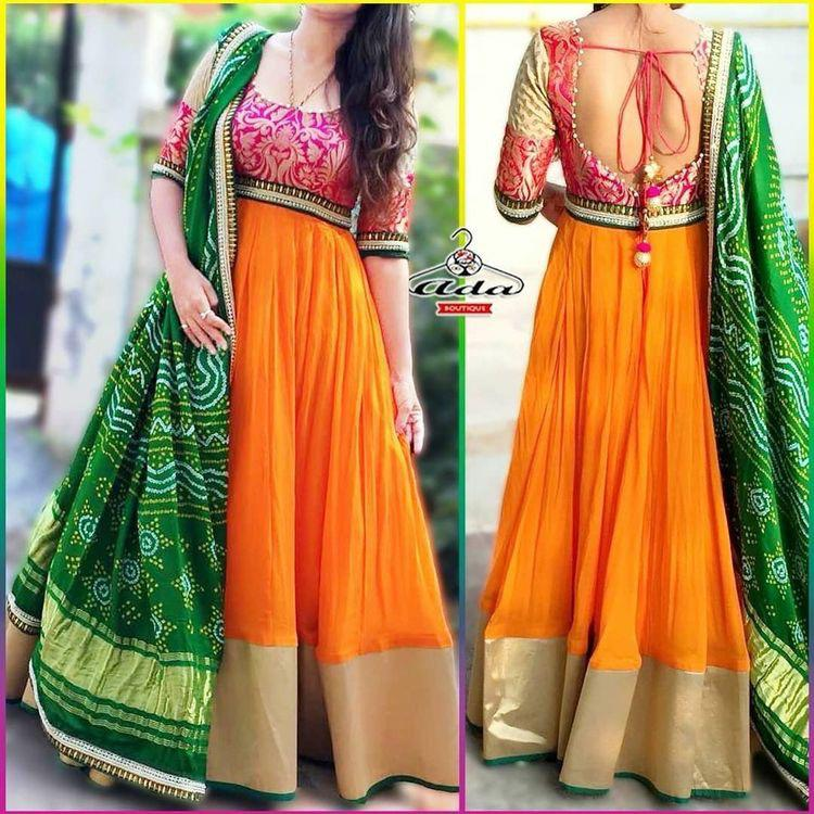 Designer Orange Colored Georgette Anarkali Suit - CTK47