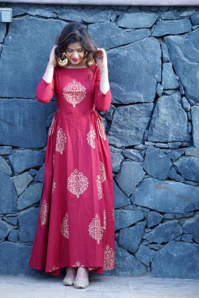 Eye-Catching Pink Colored Cotton Fabric Long Kurti - CTK54