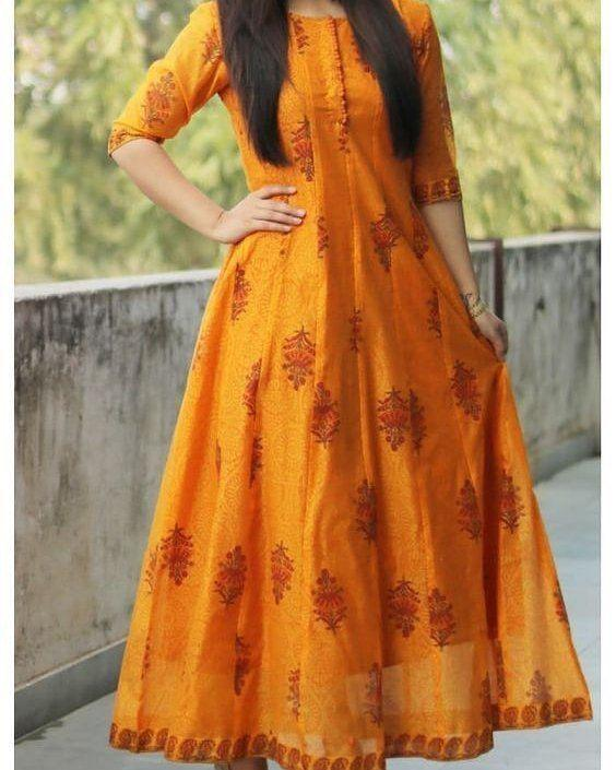 Demanding Orange Colored Cotton Fabric Long Kurti - CTK56