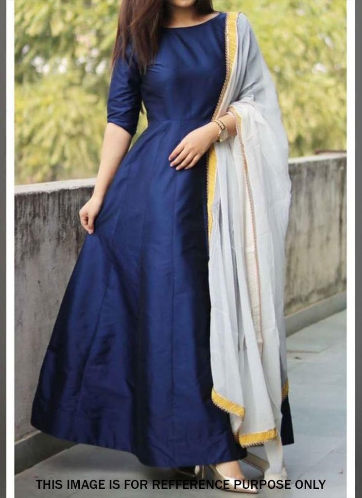 Attractive Dark Blue Colored Taffeta Silk Anarkali Suit With Dupatta - CTK57