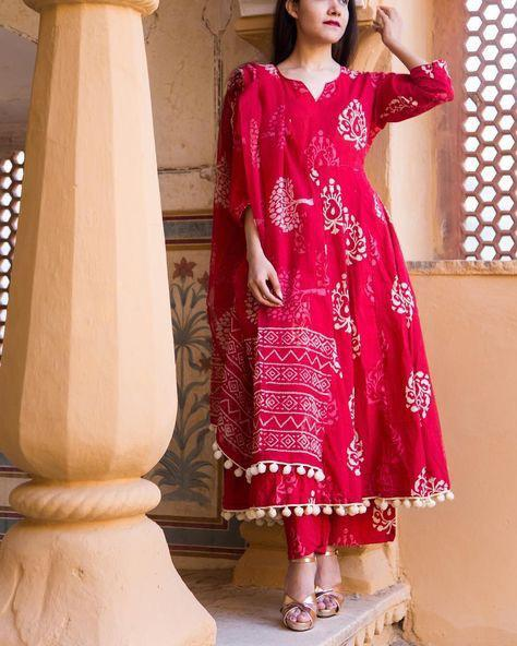 Alluring Pink Colored Cotton Plazzo Style Salwar Kameez - CTK62