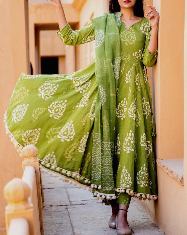 Stunning Green Colored Cotton Designer Kurta With Dupatta - CTK63