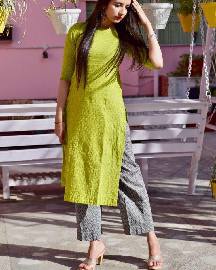 Marvellous Green Grey Cotton Kurta With Bottom - CTK71